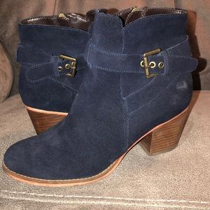 Blue suede booties! Size 8.5